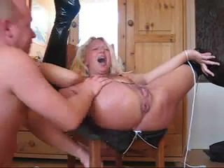 Wild as fuck big bottomed blonde nympho in high boots is masturbated 320163