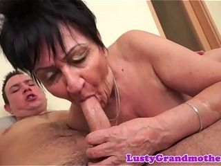 Dicksucking grandma rides beamy load of shit