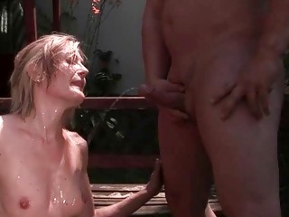 Chubby guy and mature beauty pissing and fucking