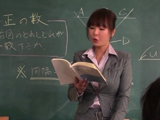 Gorgeous chinese schoolteacher blows a pile of rods