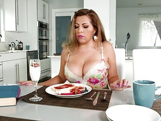 Nasty mommy with additional ample jugs banged in the kitchen