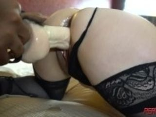 """""""Big titty latina milf takes on two huge dildos till she squirts"""""""