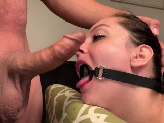 Gag Ring sucky-sucky. Hard-on Too broad For Gag Ring. Giant Dick, smallish woman