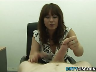 POV mature bosslady spanks cock for being bad