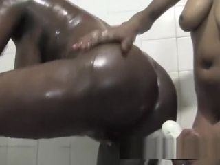 Steamy African lesbos Nelly And Natasha Go Under bathroom