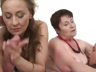 Three drunk matures sharing a hard cock