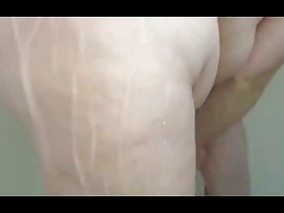 bbw wife soaping her hairy pussy,big tits & belly