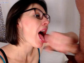 Nerdy Girl in Glasses Jerks Off, Spits on Cock & Begs for Cum Gets Facial