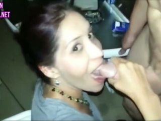 First-timer wifey loaned to homie for oral pleasure with facial cumshot