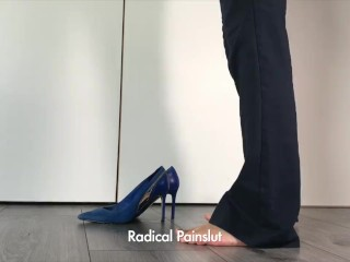 Subordinated Painslut sprays in her High Heel boots before going to Work