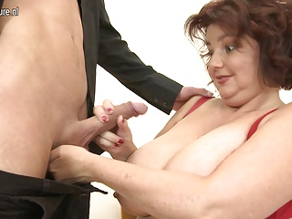 Huge breasted BBW not mother sucking and fucking young cock