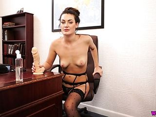 Wondrous stellar office bitch Laura stripteases and plays with a fuck stick
