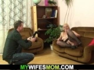 """Hairy blonde granny riding son in law's cheating cock"""