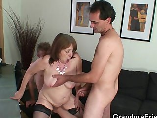Busty granny in stockings rides and sucks
