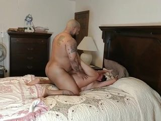 Hidden cam hubby sees wifey pulverize big black cock bull from closet