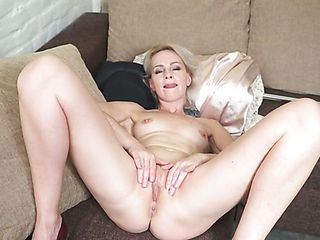 Lonely bony milf is prepped for some excellent unwrapping and coochie onanism