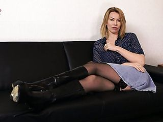 Posing without bra and dressed in only nylon pantyhose sweetheart Hannah Z