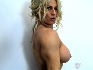 Cool ash-blonde Muscle milf with large orbs Works Out