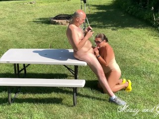 Risky Outdoor oral pleasure utter naked from Missy and George
