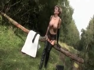 Brit big-chested mature blond in lingeria milking in the