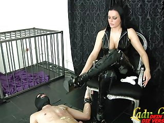 German sadism & masochism mistress and her marionette slurp - spandex female domination sesh
